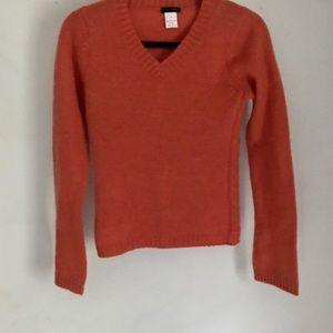 J. Crew Orange V Neck Sweater